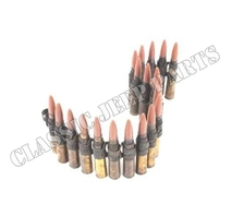Links with 20 catridges (deactivated) with plastic bullet Browning Caliber .50