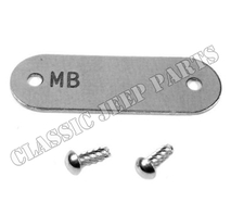 Data plate chassi with drive rivets WILLYS MB 1942-43